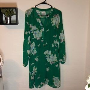 Old navy floral green long sleeved dress size M